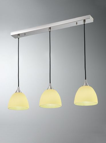 Franklite FL2290/3/940 Satin Nickel & Lime Pendant Light